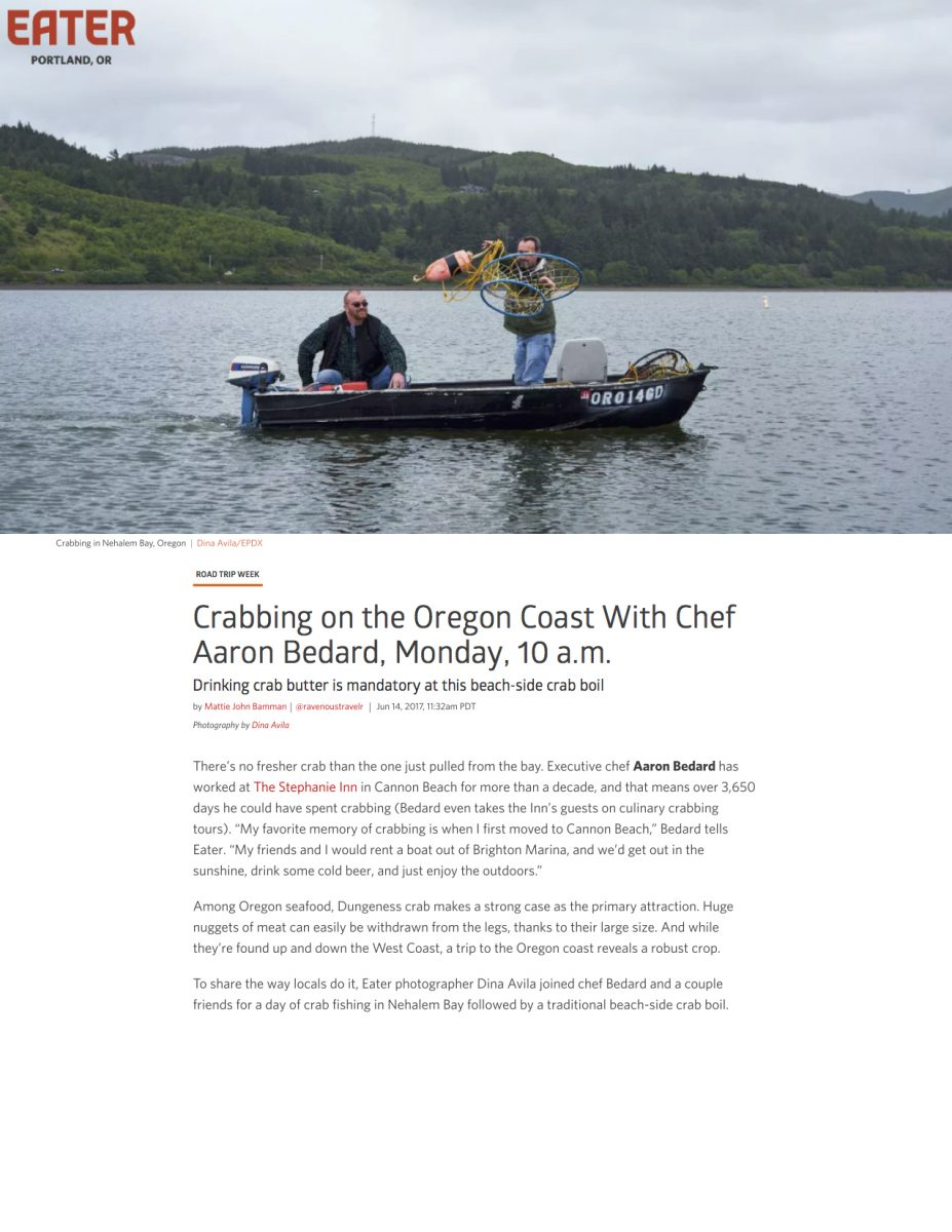 Crabbing on the Oregon Coast With Chef Aaron Bedard, Monday, 10 a.m.