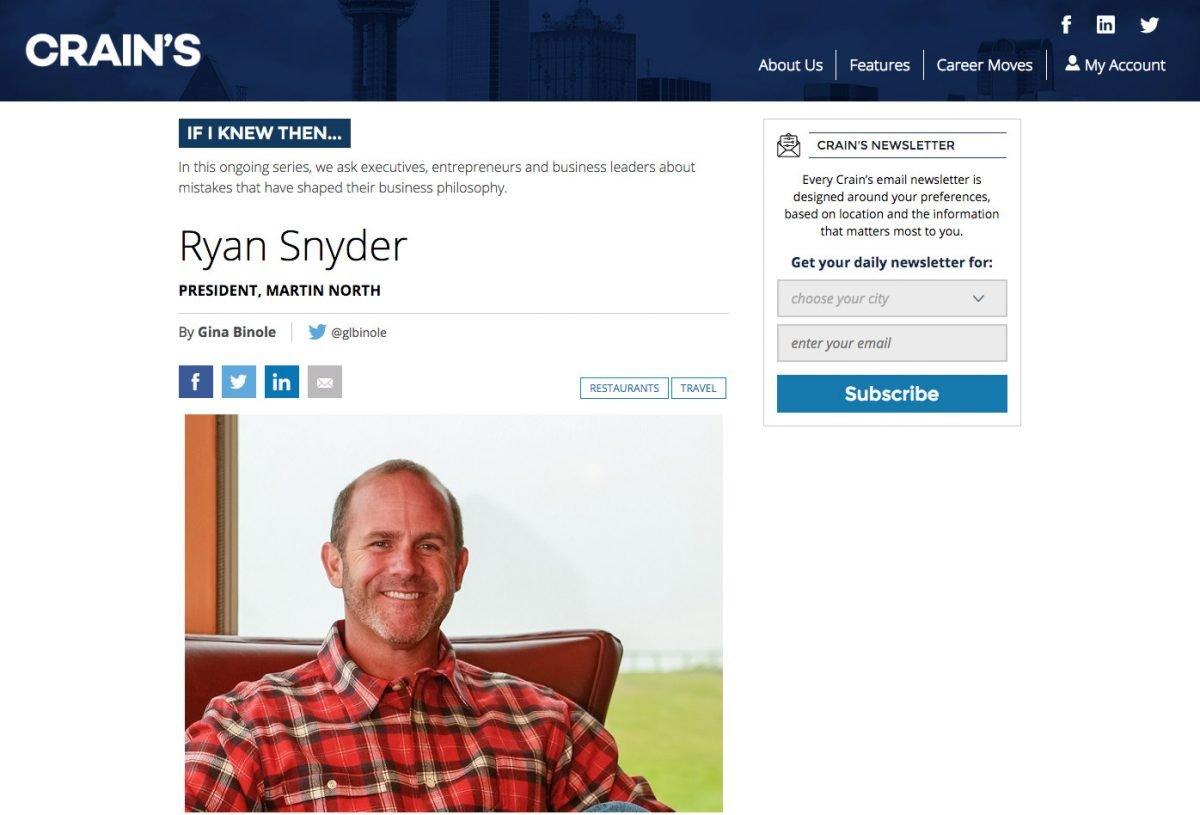 If I knew then… Ryan Snyder
